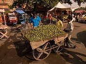 Cart of food at open market in India