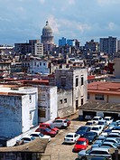 Old Havana with El Capitolio in the background,Cuba, high angle view