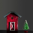Miniature barn and christmas tree