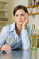Woman with bottle of wine (thumbnail)