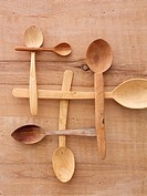 Different wooden spoons, elevated view