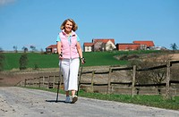 Woman doing Nordic Walking, Full shot