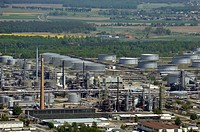 PCK oil refinery, Schwedt, Brandenburg, Germany, aerial view