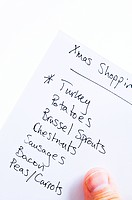 Person holding christmas shopping list