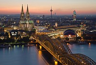 Cologne at night, Germany, bird's eye view