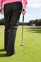 Rear view of a golfer