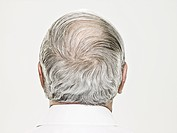 Rear view of a balding senior man