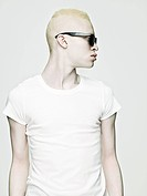 Cool looking young albino man