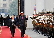 President Michelle Bachelet receives ousted President Manuel Zelaya of Honduras in Latin America tour seeking support to be reinstated as president, S...