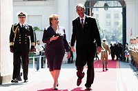 President of Guatemala Alvaro Colom and President of Chile Michelle Bachelet review the guard of honour upon his arrival at La Moneda presidencial pal...