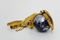 banana peel on globe