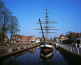 Museum ship in main canal in Papenburg, Emsland, Lower Saxony, Germany, Europe