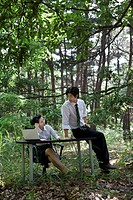 Businessman and woman looking at laptop on desk in forest