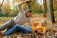 couple having fun in autumn