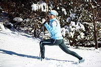 nordicwalking woman in the winter