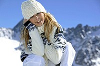 Young Woman in Mountains Winter Holiday