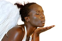african woman in bra with angel wings