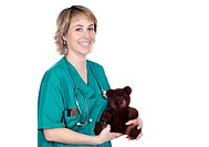 doctor with a teddy bear