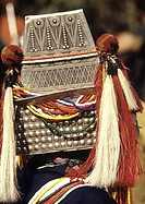 Headgear of Akha Hill Tribe woman, Northern Thailand, Southeast Asia, Asia