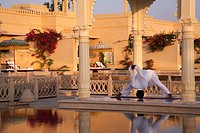 Yoga at The Oberoi Udaivilas in Udaipur, Rajasthan, India, Asia