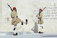 Evzone soldiers, Changing of the Guard, Syntagma Square, Athens, Greece, Europe