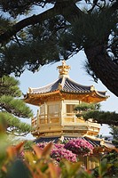 Golden Pagoda in Nan Lian Garden near Chi Lin Nunnery, Diamond Hill, Kowloon, Hong Kong, China, Asia