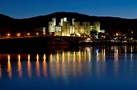 Conwy Castle and town at dusk, Conwy, Wales, United Kingdom, Europe