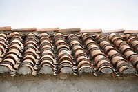 Croatia, Island Rab,City of Rab, Detail of roof