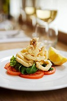 Deep_fried calamari with salad