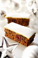 Slices of fruit cake Christmas