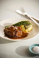 Beef Filet with Mushroom Sauce, Potato and Asparagus