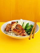 Sticky chicken with rice