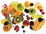 Various types of fruit on white background