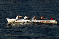 A team of rowers training, Wales
