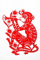 Paper Cutting piece with Chinese horoscope Monkey, Beijing, China