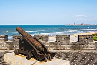 Rusted cast iron cannon in Penglai Water Town, Penglai City, Shandong Province, China