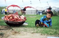 Mongolian girl sitting beside a basin full of raw lamb, Xilin Gol Grassland, Inner Mongolia Autonomous Region, China