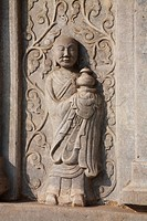 Marble wall carving of Buddha in Vajrasana Pagoda, Biyun Temple, Fragrant Hills, Beijing, China