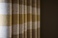Brown and gold striped drapes