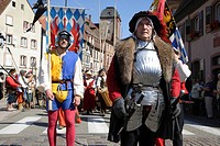 Medieval parade in Wissembourg, Alsace, France, Europe