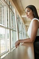 Businesswoman taking work break