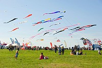Streaming kites, flags, visitors, International Kite Festival, Bristol, England, United Kingdom, Europe