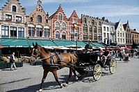 Guild houses on the market square, carriage, historic town of Bruges, Flanders, Belgium, Europe