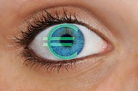 Close-up of a blue eye with the EURO symbol, symbolic picture for greed