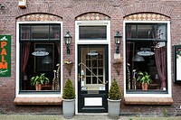 Restaurant front_door with decorated windows, Edam, Holland, Netherlands, Europe