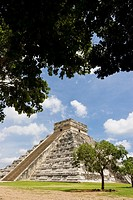 El Castillo Pyramid of Kukulcan or 'The Castle' at the Mayan archeological site of Chichen Itza in Yucatan, Mexico