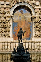 Mercurio statue on fountain at Alcazar, Seville, Andalucia, Spain
