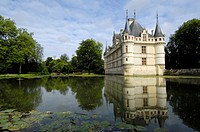 Azay-le-Rideau Chateau, Castle of Azay-le-Rideau, built from 1518 to 1527 by Gilles Berthelot in Renaissance style, Loire Valley, Indre et Loire provi...