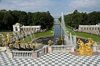 Grand Cascade, Peterhof, Petrodvorez, Saint Petersburg, Russia, Europe