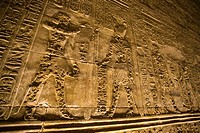 Mutilated hieroglyphic carvings at temple in Edfu, Egypt, Africa